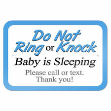 """Do Not Ring or Knock Blue Baby is Sleeping Please Call Text 9"""" x 6"""" Metal Sign"""