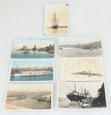 SET OF EIGHT ORIGINAL VINTAGE POSTCARDS OF VARIOUS SHIPS, PORTS, AND BOATS