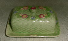 Green Basket Weave w/Flowers Covered Butter Dish - Made in Occupied Japan