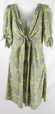 Yoana Baraschi Women's Gray Yellow Floral Print V Neck 3/4 Sleeve Dress M