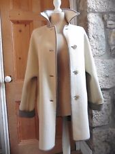 Wetherall Pure Wool Reversible Coat Cream Taupe 14 40 Jacket Swing Car VTG VGC