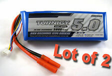 (2) TURNIGY Lipo Battery 3S 20C-30C 5000mAh 11.1v Lithium Polymer Pack 3 Cell J2