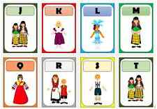 multicultural diversity people around the world flashcard alphabet frieze A-Z