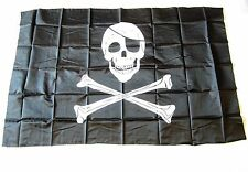 1 PIRATE FLAG JOLLY ROGER PIRATES BANNER 3' X 5' SKULL CROSSBONES WITH PATCH