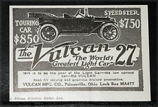 """1914 OLD MAGAZINE PRINT AD, VULCAN TOURING """"27"""", THE WORLD'S GREATEST LIGHT CAR!"""