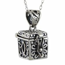 Prayer Box Charm Necklace (Top Opens) 925 Sterling Silver - *NEW* Hope Chest