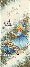 VINTAGE PRETTY BLONDE GIRL BLUE PARASOL FLOWERS 1 CHRISTMAS TEA CUP CANDY CARD