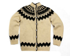 HILDA Ltd. ICELANDIC WOOL WOMENS NORDIC FAIR ISLE CHUNKY CARDIGAN SWEATER Size S