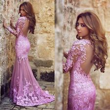 Lace Evening Dresses Mermaid Long Sleeve Back See Through 2015 Prom Gown