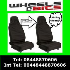 Saab 9-3 9-5 Car Seat Covers Waterproof Nylon Front Pair Protectors Plain Black