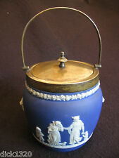 ART DECO DARK BLUE WEDGWOOD JASPER BISCUIT BARREL EPNS MOUNT& LID c.20's/30's