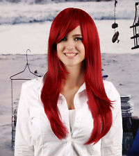 Rihanna Style Bright Wine China Dark Red Long Hair Full Women's Wigs