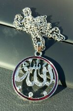 Silver Plated Islamic Muslim Allah Islam Pendant Car Rear Mirror Hanging in Red