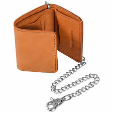 "Tri-Fold Leather Wallet, Tan Bridle Cowhide Leather, Handmade, With 20"" Chain"