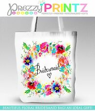 PERSONALISED FLORAL WREATH WEDDING BRIDESMAID TOTE SHOPPING BAG THANK YOU GIFT