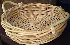 "willow basket round 2 wood handles 13"" diameter 3.5"" height 5.25"" w/handle"