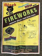 RARE Vintage Li & Fung BLACK CAT Smoke Crackers Fireworks POSTER firecrackers B