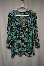 Womens Shirt Size 3X East 5th Blue Floral Pull Over 3/4 Sleeve