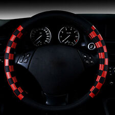 "15"" 38cm Black Red Grid Odorless Eco Leather Auto Car Steering Wheel Cover Rim"
