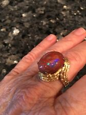 Estate Women's Australian Black Opal 18K Yellow Gold Ring Size 8