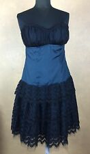 Strapless Dress Glam Vintage Soul Teal Silk w Black Lace & Net Trim  Padded Bust