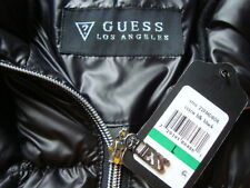 NWT GUESS Quilted Shiny Puffer Down Fill Color Black Coat Jacket Sz L