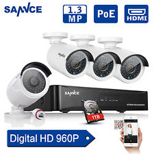SANNCE 4CH 1.3MP 960P HD DVR POE System 4pcs Outdoor CCTV Security Camera Kit 1T