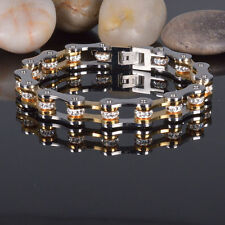 Stainless Steel 2 Tone CZ Crystal Motocycle Mens Womens Bracelet + Box #BL113