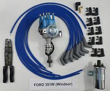 FORD 351W BLUE Small Cap HEI Distributor +45K Coil +UNIVERSAL SPARK PLUG WIRE-CT