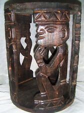 ETHNIC JAVA HAND CARVED COFFEE TABLE / STOOL WITH PRIMITIVE MAN DESIGN.FAIRTRADE