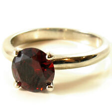 USA RING Swarovski element Solitaire red burgundy Crystal silver simple Size 6.5