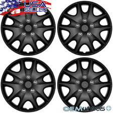 "4 NEW OEM MATTE BLACK 15"" HUB CAPS FITS NISSAN VERSA CAR CENTER WHEEL COVERS SET"