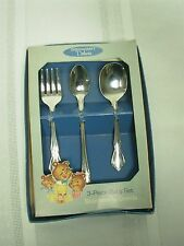 "VINTAGE ONEIDA ""CHATEAU"" 3 PIECE STAINLESS BABY SET FLATWARE ~ MIB"