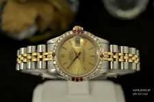 LADIES ROLEX 69163 DATEJUST 18K GOLD&S.STEEL DIAMONDS&RUBY BEZEL&CHAMPAGNE DIAL