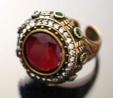 Designer Ring Fingerring Damenring Kadina Paris  Edelstein Jade Rote Bronze Pl.