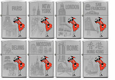 Zippo Windy Girl 8 Lighter Set Traveling Cities High Polish Chrome New Rare