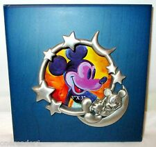 "Disney Pewter MICKEY MOUSE Moon Stars 5.25"" Square Blue Wood PICTURE FRAME"