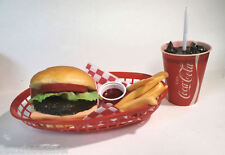 FAKE FOOD DINER CAR HOP CHEESEBURGER FRIES W/ 60'S COKE CUP BASKET SHIPS FREE