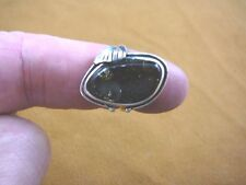 (PR-9.25-3) green AMBER oval Poland .925 Sterling SILVER leaf RING size 9.25