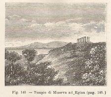 A1718 Egina - Tempio di Minerva - Xilografia - Stampa Antica 1895 - Engraving