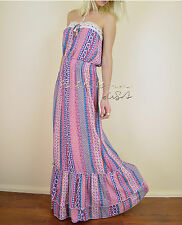 Strapless CHIC Prairie Printed RUFFLED FLARE Maxi Casual BOHO Gypsy SUN Dress S