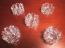 Unique Antique Set of Glass Salt Cellars Fencing or Panel Design Set of 5