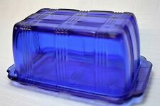 Vintage Original Hazel Atlas Criss Cross Butter Dish One Pound - Cobalt Blue