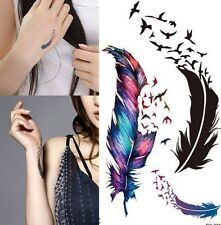 Flying Birds Feather Gradient Temporary Tattoo Boho UK Seller #444