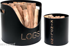 Set of Log and Kindling Holders Fireside Accessories Log Bucket Kindling Bucket