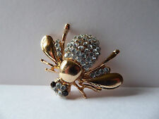Beautiful Rhinestone Honey Bee Brooch,Unusual,Gift Idea,Insect,Gold,Bling,Gems