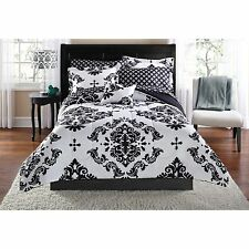 Twin Mainstays 6pc Complete Bedding Set Classic Noir Pattern Bed in Bag Sheets