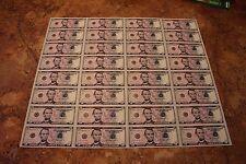 Full Uncut Five Dollar Bill Currency sheet $5 x 32 Subject 2013 Atlanta Notes