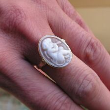 ANTIQUE STYLE CARVED SHELL CAMEO RING Vintage  ITALY Boucheron Ring Size 8,5