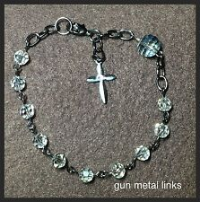 Handcrafted Gun Metal Rosary Bracelet MADE WITH Swarovski Crystals